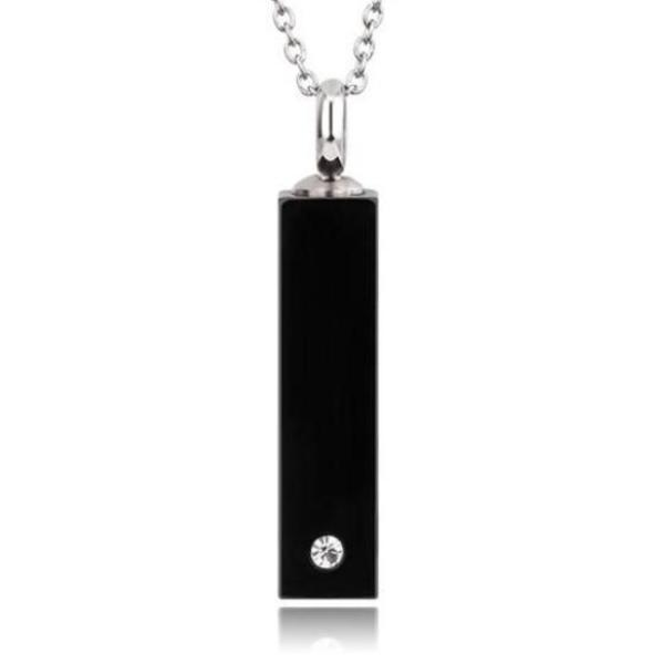 Black Rectangular Tube With Zircon