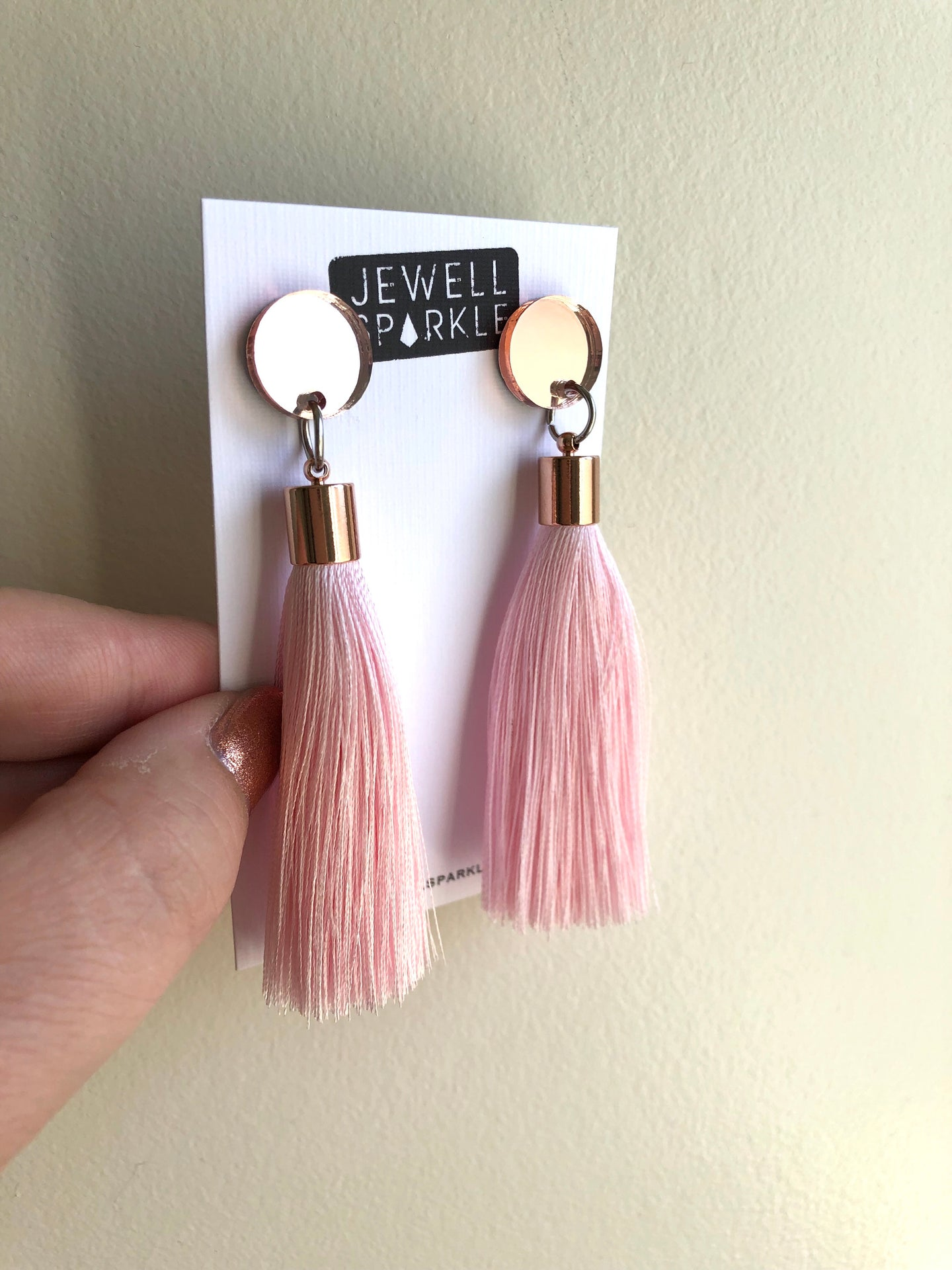 Rose Gold Mirror Acrylic and Blush Tassel Dangles