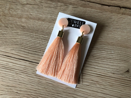 Apricot Acrylic and Tassel Dangle