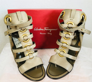 Salvatore Ferragamo Gray Gladiator Sandals Shyla High Heel