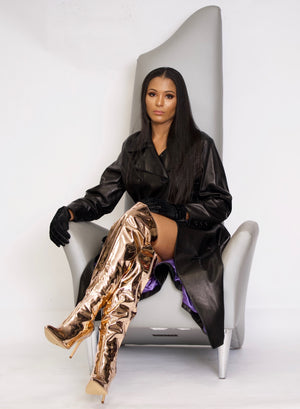 Olivia Metallic Rose Gold Thigh High Boots