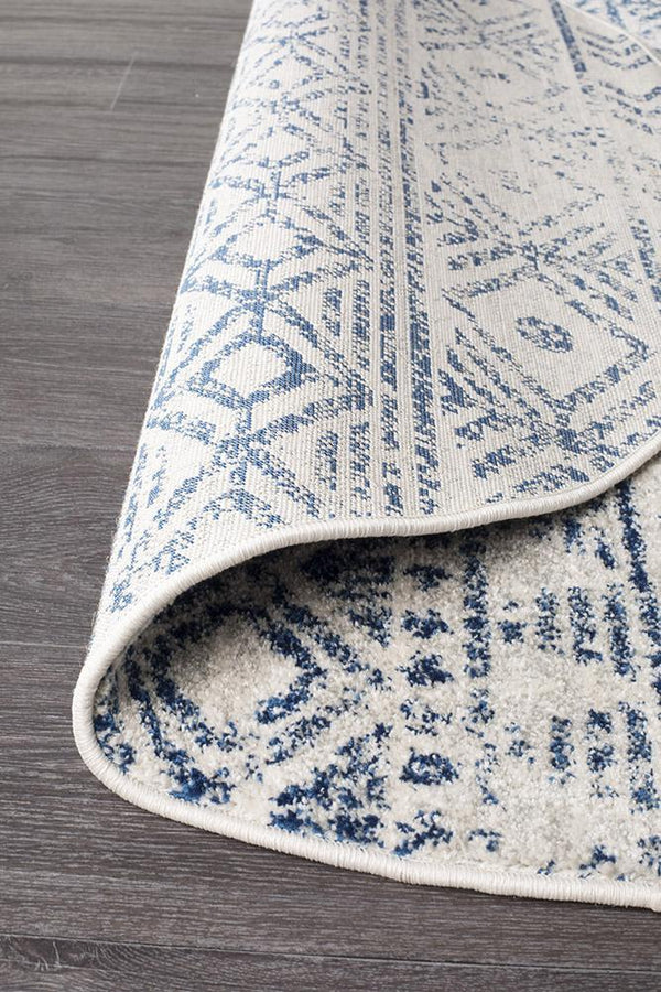 Oasis Ismail White Blue Rustic Round Rug