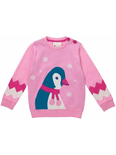 Piccalilly - Knit Jumper Pink Penguin Size 1-2 years