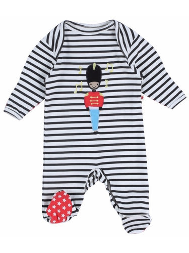 Piccalilly - Sleepsuit Footed Toy Soldier Applique Size 0-3M
