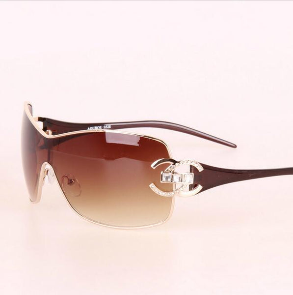 Sunglasses - Women Retro Diamond Big Frame Sunglasses