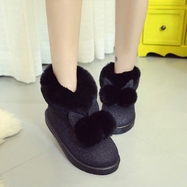 2017 Winter New Women's boots female Rabbit Ears Rabbit beautiful waterproof and velvet