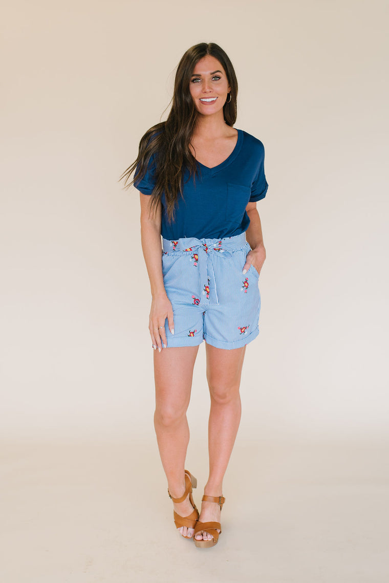 ROXANNE STRIPED SHORTS WITH MIXED FLORAL PATTERN