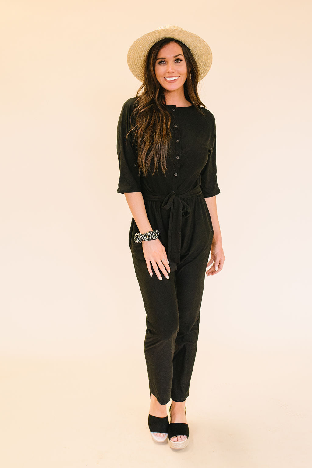 WILLOW BLACK JUMPSUIT WITH WAIST TIE