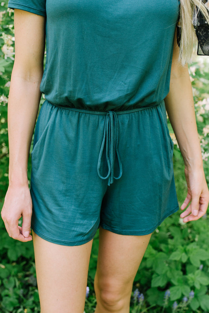 ABBY ROMPER IN FOREST GREEN
