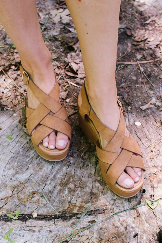 LOGAN SUEDE WEDGE SANDAL IN CAMEL
