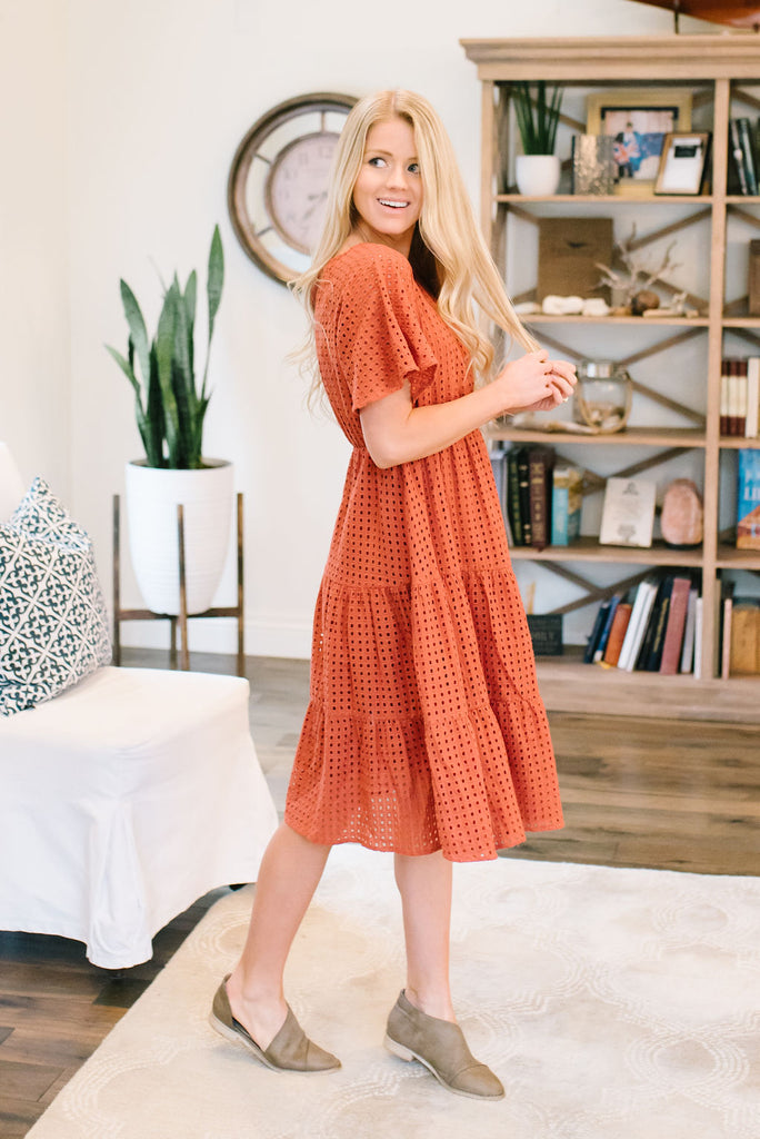 ADELAIDE EYELET EMBROIDERED MIDI DRESS IN RUST
