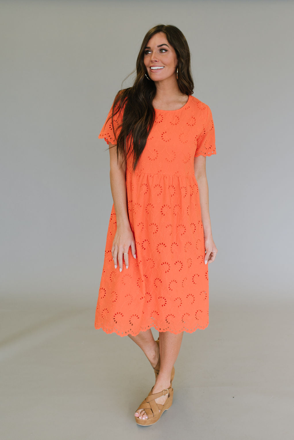 SHAUNA MIDI EYELET DRESS IN CORAL
