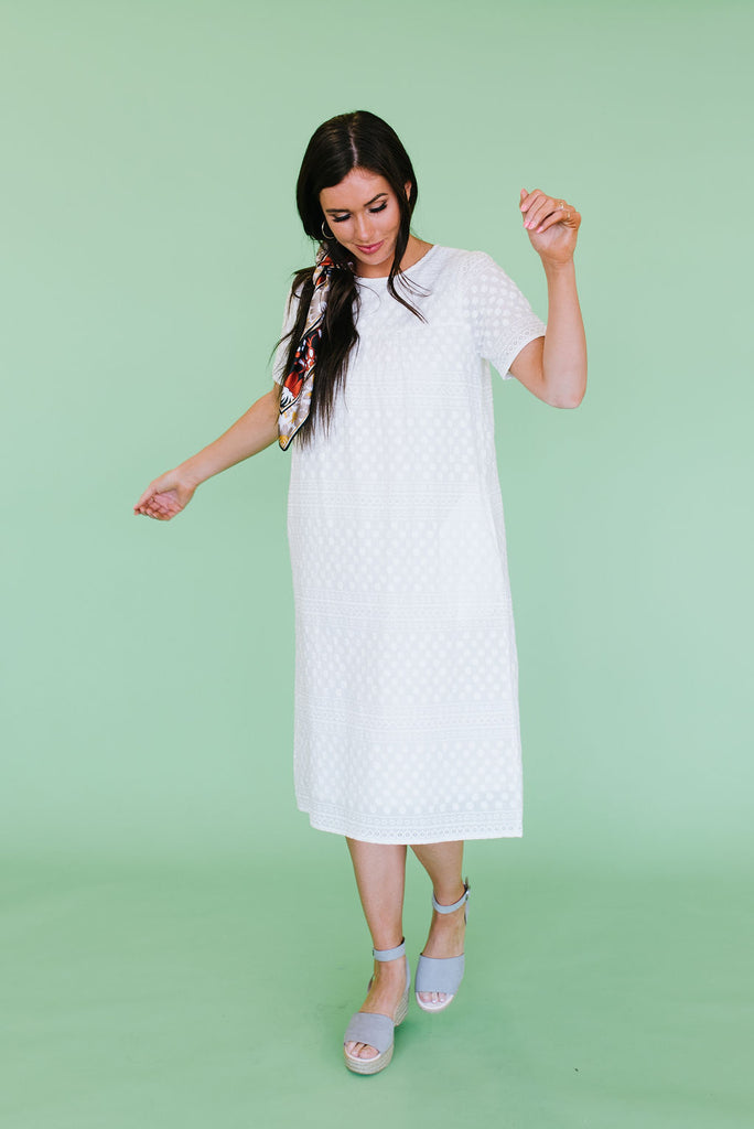 JANE CROCHET FLORAL EMBROIDERED DRESS IN WHITE