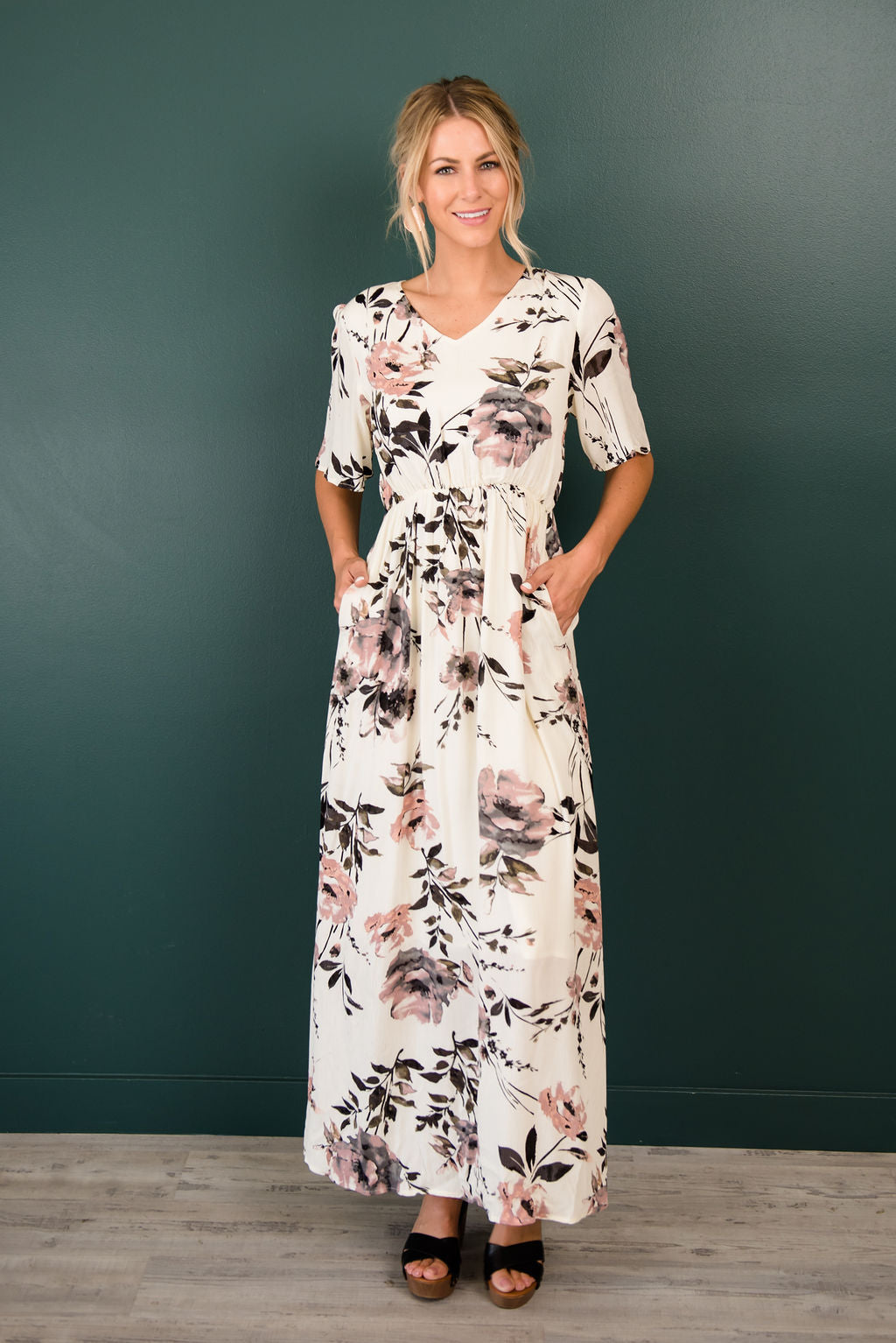 LUNA MAXI IN IVORY WITH DUSTY ROSE PATTERN