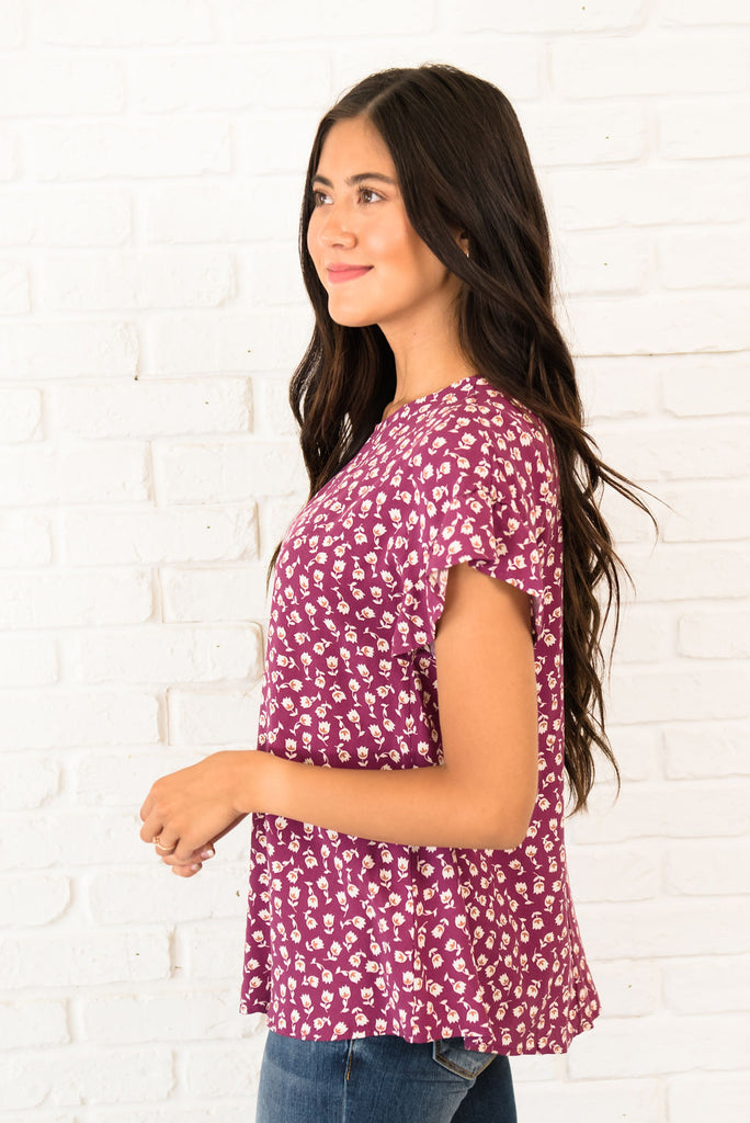 KARA TOP IN PLUM WITH CREAM FLORAL PATTERN