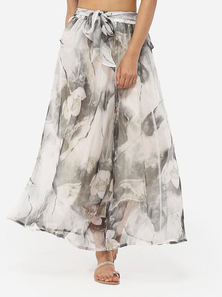 Loose Fitting Chiffon Floral Printed Casual-pants - Bychicstyle.com