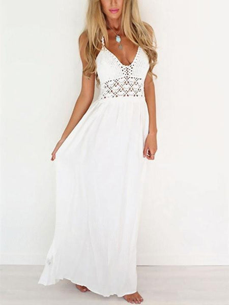 Casual Lace High Rise White Lace up Dress
