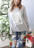 ByChicStyle Grey Monogram Print Round Neck Casual Pullover Sweatshirt