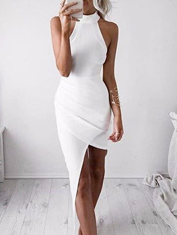 Casual Cute Sleeve Less White Solid Bodycon Dress
