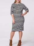 ByChicStyle Crew Neck Striped Half Sleeve Plus Size Shift Dress - Bychicstyle.com