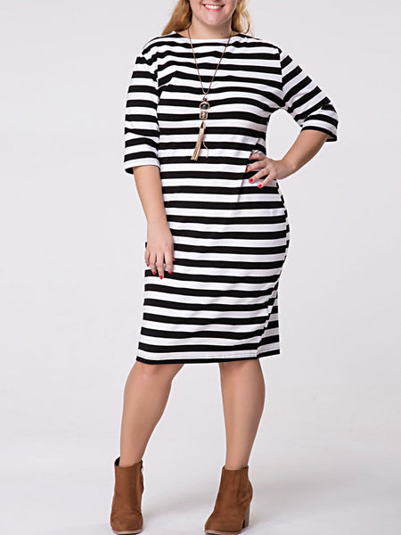 Crew Neck Striped Half Sleeve Plus Size Shift Dress - Bychicstyle.com