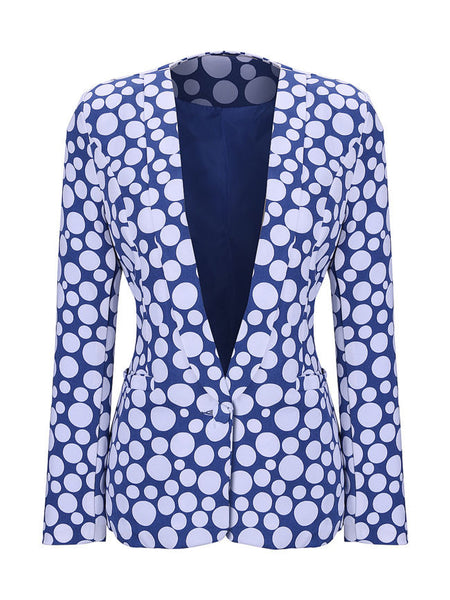 Narrow Notch Lapel Single Button Polka Dot Blazer - Bychicstyle.com
