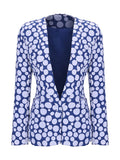 ByChicStyle Narrow Notch Lapel Single Button Polka Dot Blazer - Bychicstyle.com