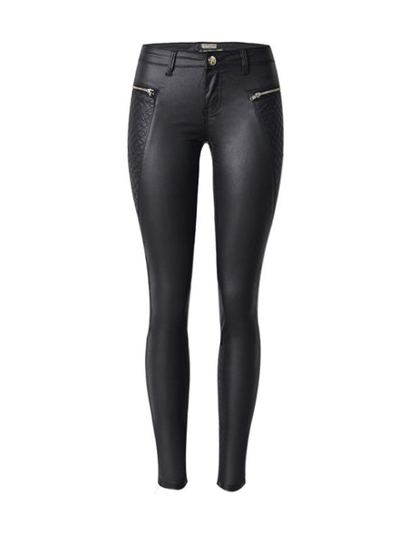 Casual Zips Plain Slim-Leg Low-Rise Faux Leather Casual Pant