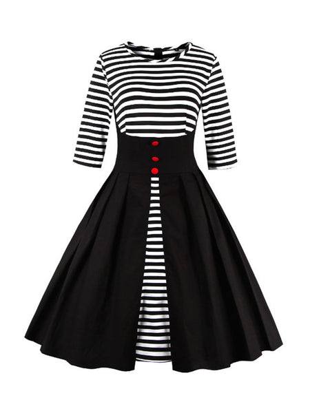 Color Block Striped Round Neck Plus Size Flared Dress - Bychicstyle.com