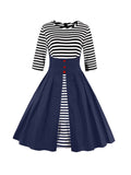 ByChicStyle Color Block Striped Round Neck Plus Size Flared Dress - Bychicstyle.com