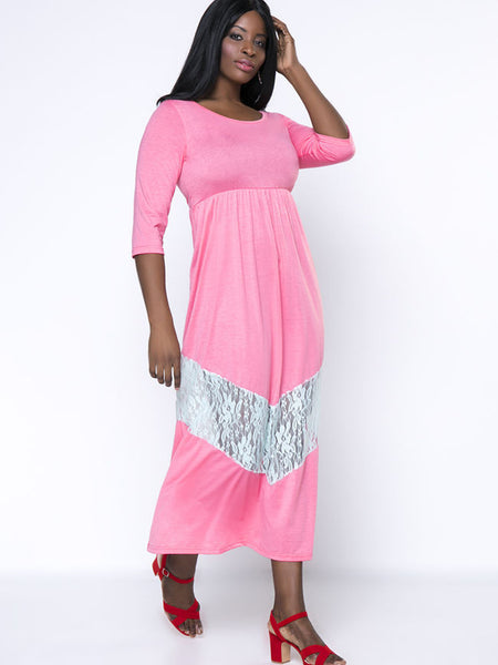 Patchwork Hollow Out Swing Plus Size Maxi Dress - Bychicstyle.com