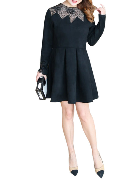 Exquisite Crew Neck Patchwork Hollow Out Plain Plus Size Flared Dress - Bychicstyle.com