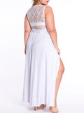 ByChicStyle Lace Patchwork Sleeveless See-Through Plus Size Maxi Dress - Bychicstyle.com