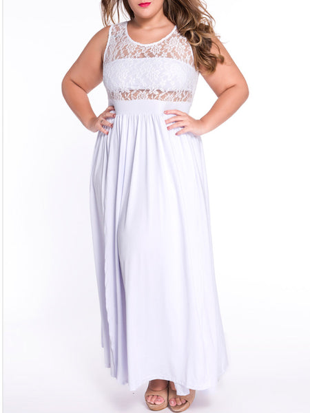Lace Patchwork Sleeveless See-Through Plus Size Maxi Dress - Bychicstyle.com