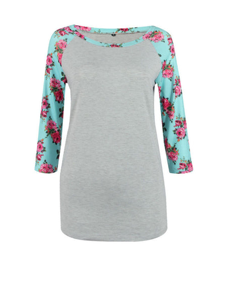 Delightful Round Neck Floral Printed Plus Size Raglan Sleeve T-Shirt - Bychicstyle.com