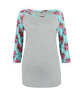 ByChicStyle Delightful Round Neck Floral Printed Plus Size Raglan Sleeve T-Shirt - Bychicstyle.com