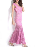 ByChicStyle Mermaid Deep V-Neck Hollow Out Lace Evening Dress - Bychicstyle.com