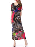 ByChicStyle Paisley Deep V-Neck Animal Printed Plus Size Maxi Dress - Bychicstyle.com