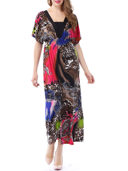 Paisley Deep V-Neck Animal Printed Plus Size Maxi Dress - Bychicstyle.com