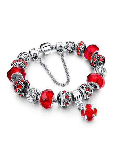 Glass Beads Silver Plated Crystal Bracelet - Bychicstyle.com