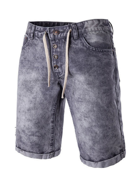 Casual Denim Drawstring Unique Light Wash Men's Short