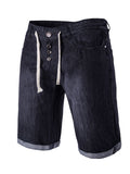 ByChicStyle Casual Denim Drawstring Unique Light Wash Men's Short