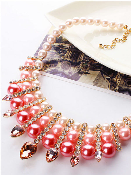 Luxury Faux Pearl Crystal Necklace - Bychicstyle.com