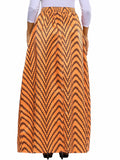 ByChicStyle Casual Zigzag Striped Flared Elastic Waist Pocket Plus Size Skirt