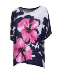ByChicStyle Casual Loose Color Block Floral Plus Size T-Shirt - Bychicstyle.com