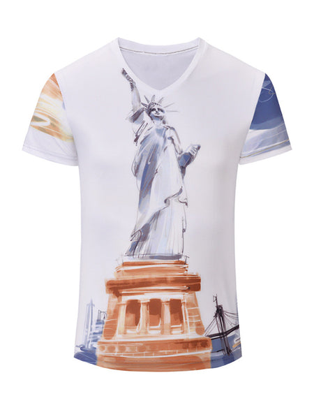 Short Sleeve V-Neck Statue Of Liberty Printed T-Shirt - Bychicstyle.com