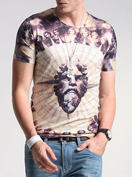 Fitted Round Neck Printed T-Shirt - Bychicstyle.com
