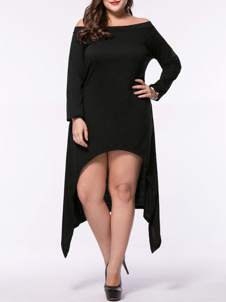 Casual Asymmetric Hem Plain Off Shoulder Plus Size Shift Dress