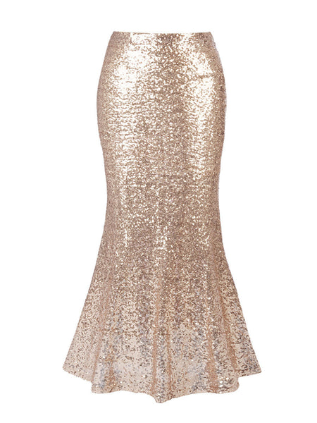 Stunning Mermaid Sequin Solid Plus Size Maxi Skirt - Bychicstyle.com