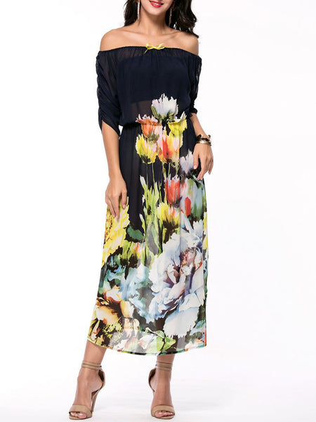 Off Shoulder Floral Hollow Out Swing Maxi Dress - Bychicstyle.com